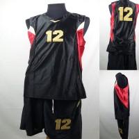 Setelan Baju/Kaos Bola Basket Team/Tim Dewasa Hitam 2