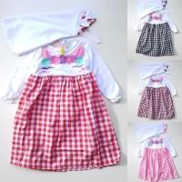 HOT SALE Baju Muslim Anak Bayi Perempuan Putih Unicorn Kotak - Merah