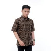 Kemeja Batik Pria Hitam Coklat Lengan Pendek | Baju Batik Pria Kantor