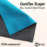 Bahan Kain Jaket Parasut Gore-Tex 3 Layer Biru Turkish Lapis Kotak