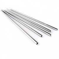 Sedotan Lurus Silver Straw Metal Ramah lingkungan Sedotan Stainless