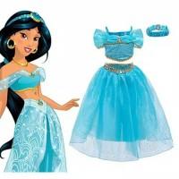 Baju pesta anak sz 3-8th costume princess jasmine rok putri jasmin