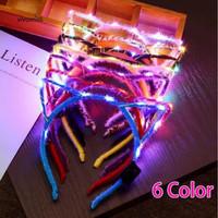 Bando LED Kucing Anak Lampu Mainan Anak-anak Sequin Bow Headband