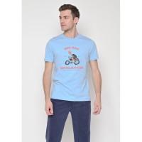 Skelly Kaos Bergambar Karakter Unik Pria Wanita Bike Mike Biru Muda