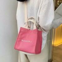 Tas Selempang Wanita Sling Bag Mini Simple bahan Kanvas Imitasi