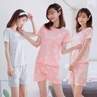 Baju tidur rumah wanita lengan tangan pendek celana - piyama - panjang