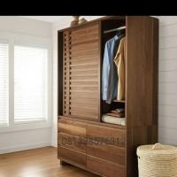 Lemari pakaian pintu 2 sliding doors jati grade A