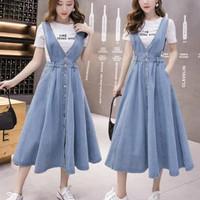 jeans denim midi dress overall baju kodok rok korea import wanita