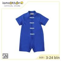 Baju imlek bayi / Romper bayi - I am Cotton Romper Cheongsam Blue