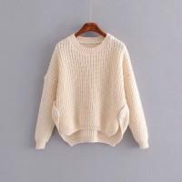 Baju Sweater Wanita Beige casual knit Import