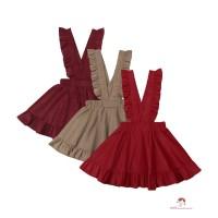 Dress Overall Rok Ruffle Bahan Katun Warna Polos untuk Anak