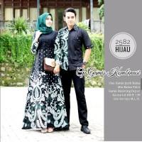Baju dress gamis batik couple kombinasi polos