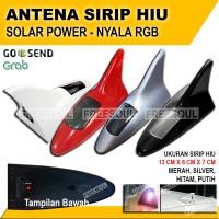 Sirip Hiu Mobil - Antena Sirip Hiu - Solar Power Nyala Belakang RGB - Hitam