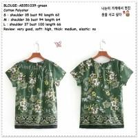 AB351039 Baju Atasan Bunga Wanita Blouse Korea Import Green Hijau