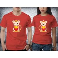 Baju kaos couple Imlek - Rat Stand Gold Red