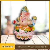 Rupang Patung Arca Dewa Ganesha Ganesa 4 Lengan Fiber 6 Inch