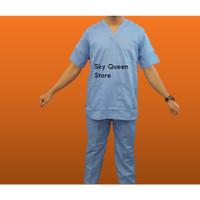 Seragam Jaga Rumah Sakit Baju oka Biru Pendek V Neck
