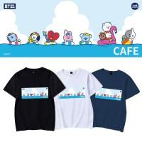 Kaos T-Shirt Lengan Pendek Gaya Kpop BTS bt21 Kartun Peluru Anti