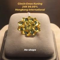 Cincin Emas Kuning 24K 99.99% Hongkong Internasional Asli CU,W0