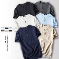 Men's Cotton Linen Short Sleeve Chinese Style VNECK T-shirt / top