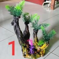 Hiasan/dekorasi aquarium tanaman plastik sintetis aquascape murah
