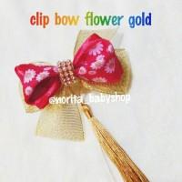 aksesoris jepitan/bandana imlek anak bow red flower gold