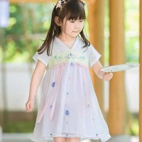 hanbok hanfu baju adat china anak baju dinasti tang white pink