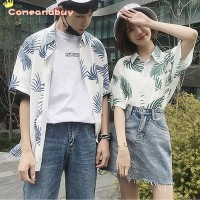 Harajuku Beach Leaf Printed Lapel Pocket Couple Shirt