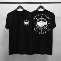 T-shirt Make Friend / Baju Kaos Distro Pria Wanita Hitam Cotton 30s