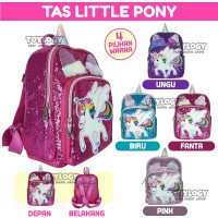 Tas Ransel Sekolah Anak Manik Sequin Little Pony Unicorn School Bag Ba