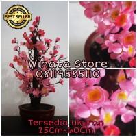 Pohon Hias Plastik Angpao Imlek Meihua Bunga Sakura Pink Mini Uk 40cm