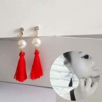 Anting CNY import Pearl Tassel Ear Clip No Needle Red
