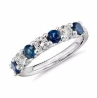 Cincin wanita emas putih cantik, dgn berlian eropa & batu blue safir