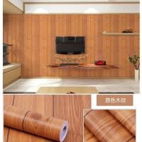 Wallpaper stiker motif papan kayu coklat muda list hitam