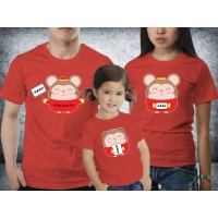 Baju Couple family - Kaos imlek - Gongxi Facai Card Red