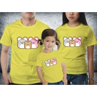 Baju Couple family - Kaos imlek - Rat Family Yellow