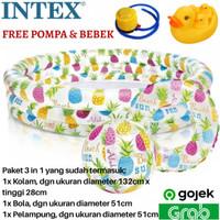 Kolam Renang Bermain Anak Intex 59469 + Pelampung + Bola + Pompa+Bebek
