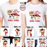 HOT SALE Baju Kaos Putih Dewasa Pria/Wanita/Unisex Design Imlek Baru -