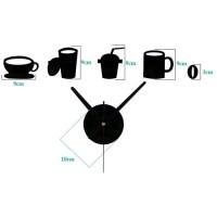Jam Dinding Mug Cangkir Kopi Cafe Diameter 40-70 cm DIY Wall Clock