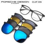 kacamata porsche design clip on bulat anti silau siang malam free lens