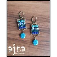 Anting Boho Etnik Non Korea - Batu Lapiz Lazuli & Azurite, seed beads