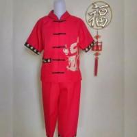 baju kids 1-10 thn setelan kemeja + celana imlek sincia congsam merah