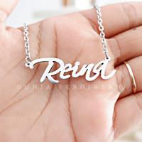 Kalung Nama Silver Polos / Perhiasan Nama Silver Simple