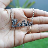 Kalung Nama Silver Grafir Custom/Perhiasan Nama Silver Grafir - Silver, Nori