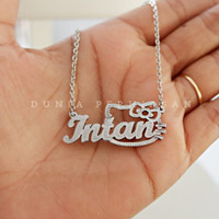 Kalung Nama SIlver Grafir Custom/ Perhiasan Nama Silver
