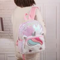 Tas Ransel Bulu Sequin Unicorn TRU031 backpack anak perempuan sd