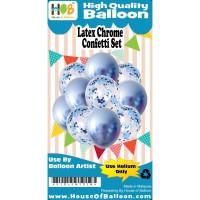 Set Balon Ulang tahun Latex + Confetti Blue Chrome