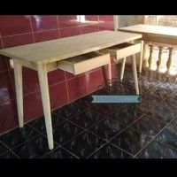 Meja kerja/ kantor laci retro - meja belajar simpel kayu jati mentahan