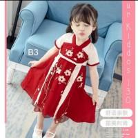 Dress Anak Perempuan Pra Remaja Imlek Bunga Kepang Merah Marun