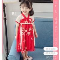 Dress Anak Perempuan Pra Remaja Imlek Bunga Kepang Merah